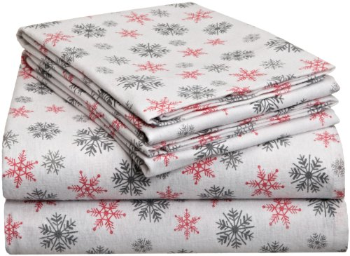 Sheets Flannel Pink (Pointehaven Heavy Weight Printed Flannel Sheet Set, Queen, Snow Flakes White)