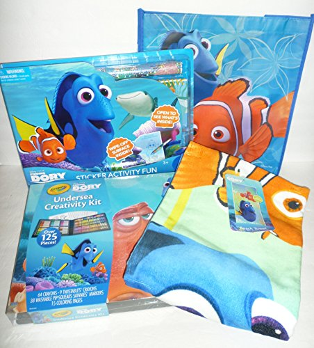 Disney Finding Dory 4-piece Bundle: Beach Towel, Crayola Und