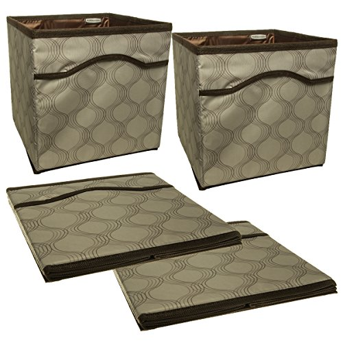 Newell Rubbermaid 4 Pack Collapsible Beige Canvas Basket Storage Containers Cubes Bins Folding Set