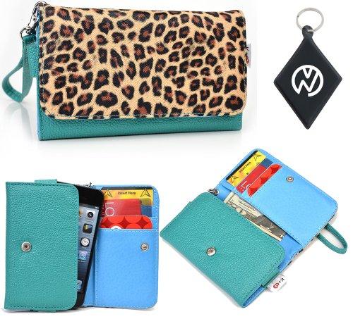 Teal Leopard Wristlet Cell Phone Wallet Cover Fits Nokia C5 5MP (AKA C5-00) + NuVur Keychain (ESAMMTT1)