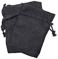 Homeford Faux Burlap Pouches with Cotton Drawstrings, Black, 6 by 9-Inch