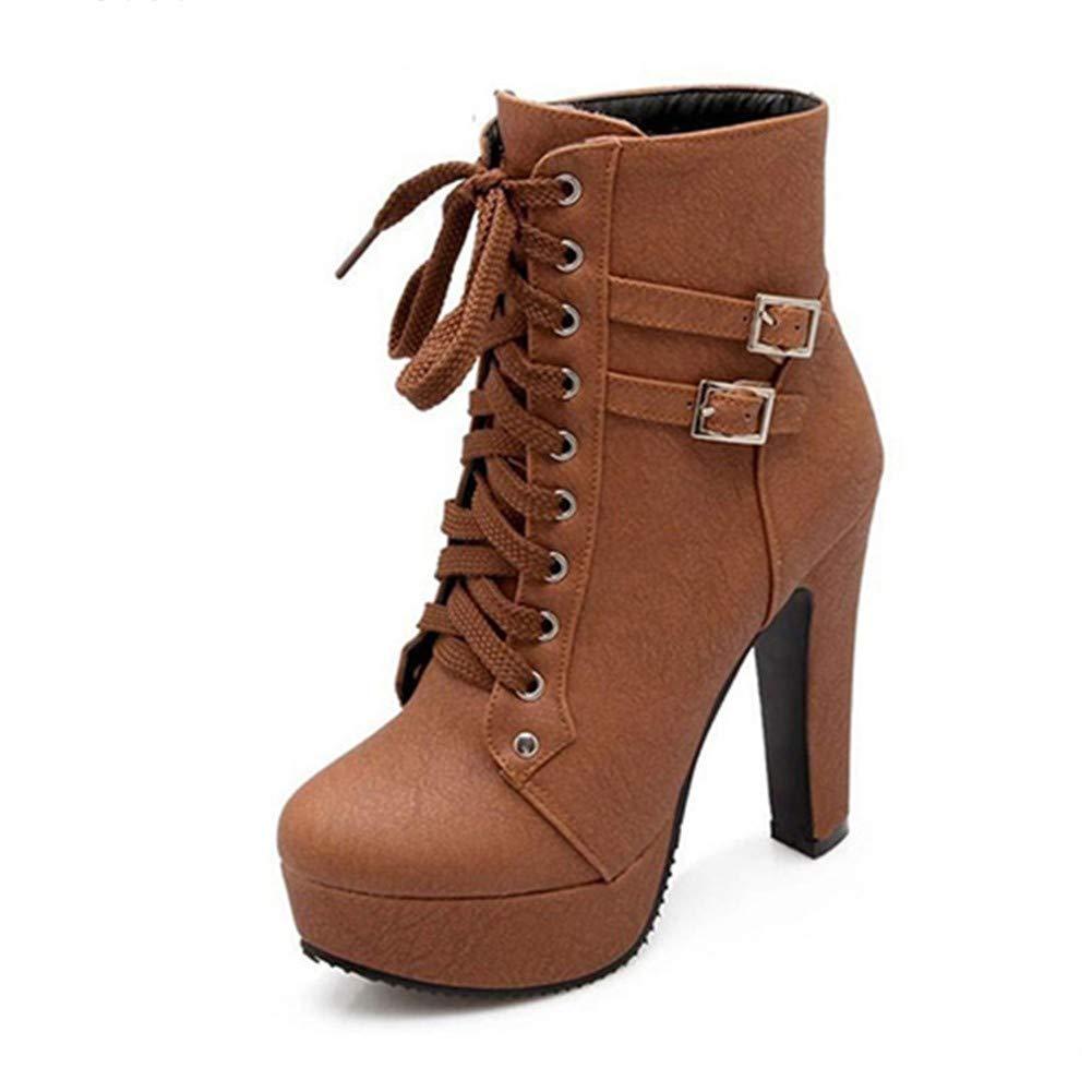 marron SARA Bottes de pluiePlus Taille Cheville Bottes pour pour pour Femmes Plateforme Talons Hauts Femmes Chaussures à Lacets Femme Boucle Botte Courte Décontracté Les Les dames Chaussures fd6
