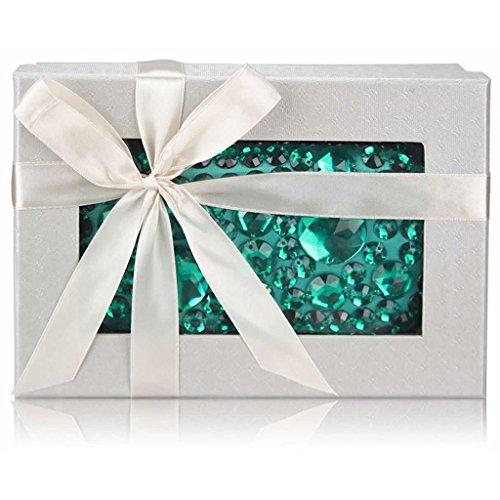 TrendStar - Cartera de mano para mujer Small A - Emerald Rhinestone Box Clutch