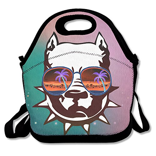 Pit Bull With Cool Sunglass Seeing Strange Handy Portable Zipper Lunch Box Lunch Tote Lunch Tote - Sunglasses Strange