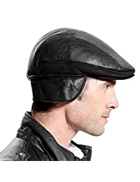 Roffatide Men Leather Ear Flap Newsboy Cap Flat Beret Cabbie Irish Ivy Hat Winter