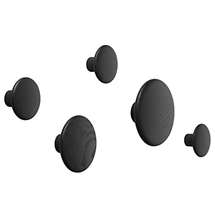 Muuto The Dots Coat Hooks Black - 5 Pcs
