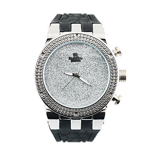 Mens Iced Out Hip Hop Genuine Diamond .12ct Full Illusion Silver Tone with Designer Black Rubber Band Watch