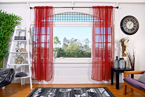 All American Collection Doli Sheer Curtains | Two 54 x 84 Panels (Red Wine)