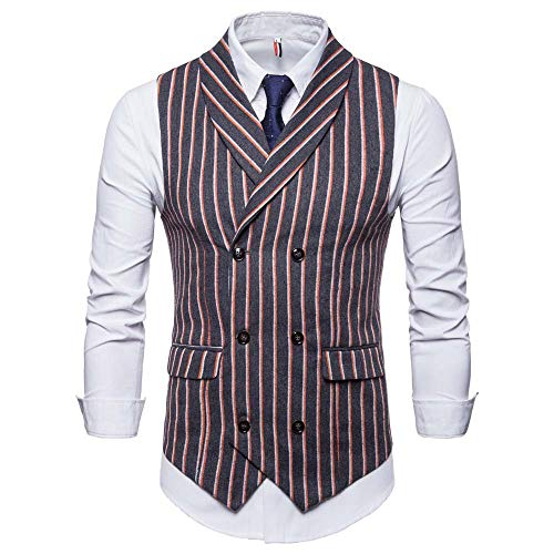 Fashion Men's Autumn Winter Sleeveless Striped Suit Vest Jacket for Formal Blazer Double Breasted Suit -