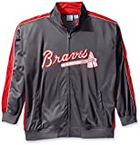MLB Atlanta Braves Men's Team Reflective Tricot Track Jacket, 2X/Tall, Charcoal/Red