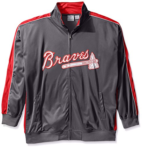 Atlanta Braves Mens Jackets - MLB Atlanta Braves Men's Team Reflective Tricot Track Jacket, X-Large/Tall, Charcoal/Red