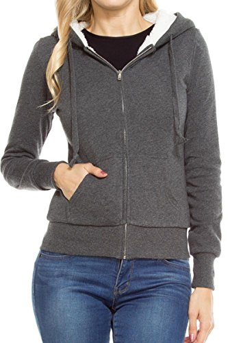 Armycrew Ladies Soft Warm Sherpa Lined Full Zip Hoodie Sweater Jacket - Charcoal - L
