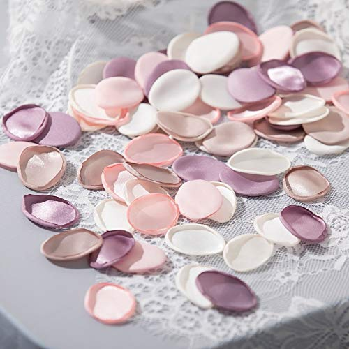- UNIQOOO 450Pcs Silk Satin Rose Petals for Weddings | Mauve Lilac Baby Pink White Flower Decorations, Great for Wedding Party, Romantic Night l Flower Girl & Aisle Petals - Extra 3 Organza Toss Bags