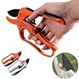 APRIL 14TH Professional Pruning Shears Ratchet Mechanism, Sharp Tree Trimmers Secateurs Hand Pruner Clippers with Safety Lock - Great for Weak Hands (Orange)