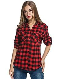 Womens Tartan Plaid Flannel Shirts, Roll up Sleeve Casual Boyfriend Button Down Gingham Checkered Shirt