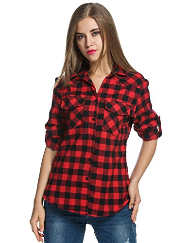 Red Plaid Shirt, Roll up Sleeve Casual Boyfriend Button Down Tartan Flannel Shirt
