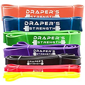 """Draper's Strength Heavy Duty Pull Up Assist and Powerlifting Stretch Bands (Single Band or Set) 41-inch #5 Green (50-120 Lbs) 1-3/4"""" x 41"""" Long"""
