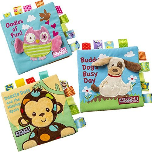 Here Fashion 3 Packs Non-toxic Soft Fabric Baby Cloth Books Early Education Toys Activity Crinkle Cloth  Book for Toddler,  Infants and Kids - Perfect for Baby - Activity Book Tag