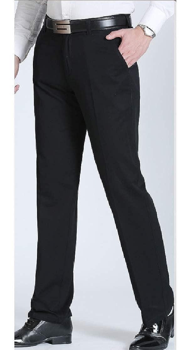 YUNY Mens Hi-Waist Baggy Leisure Straight Chino Pants Trousers 1 5XL