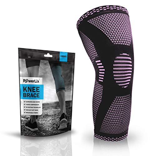 (POWERLIX Compression Knee Sleeve - Best Knee Brace for Men & Women – Knee Support for Running, Crossfit, Basketball, Weightlifting, Gym, Workout, Sports etc. – for Best FIT Check Sizing Chart)
