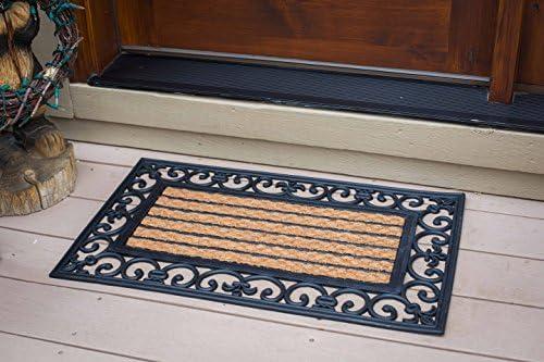 Birdrock Home 18 X 30 Rectangular Natural Coir And Rubber Doormat With Scroll Border Natural Fibers Outdoor Doormat Keeps Your Floors Clean Decorative Design Non Brush Coir Kitchen Dining
