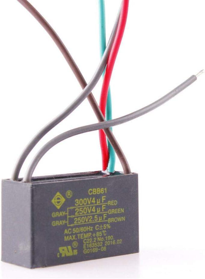 5 Wire 4uf+4uf+2.5uf Start Run Ceiling Fan Capacitor 250V//300V CBB61