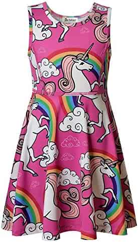 Jxstar Girl's Unicorn Dress, Unicorn Party Supplies, Unicorn Legging, Unicorn Hoodie ¡