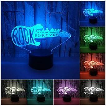 3D Led Luces Nocturnas Guitarra Eléctrica Mol Illusion 3D Cool Usb Touch Sensor Sk Lámpara Para Niños Dormitorio Regalo De Navidad: Amazon.es: Iluminación