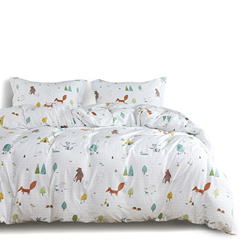 Wake In Cloud - Zoo Comforter Set Queen, 3-Piece Fox Elephant Bear Animals Cartoon Pattern Printed, Soft Washed Microfiber Bedding for Kids or Teens (3pcs, Queen Size) by Wake In Cloud