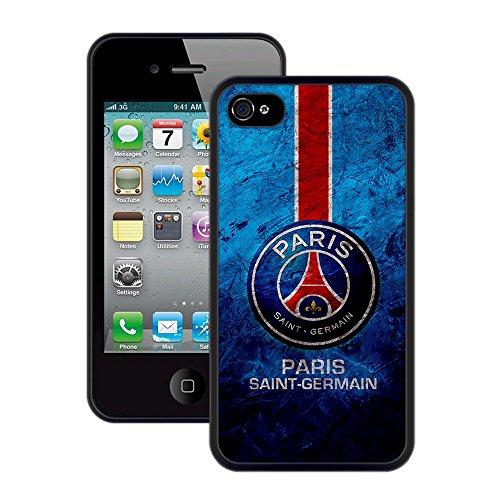 Paris Saint-Germain (PSG)   Handgefertigt   iPhone 4 4s   Schwarze TPU Hülle