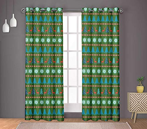 (S4Sassy Cotton Duck Snowflake & Tree Christmas Green Double Panel Eyelet Living Room Door Curtains- 54x95 Inches)