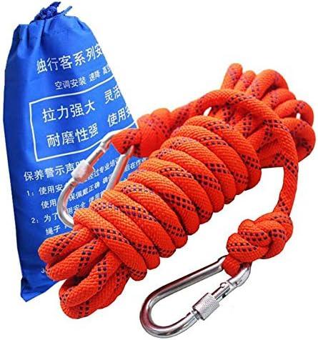 登山ロープ、屋外脱出救助パラシュート静的屋内ロープ、安全懸垂下降ロープジム登山ロープ脱出救助ロープ,Orange,10m