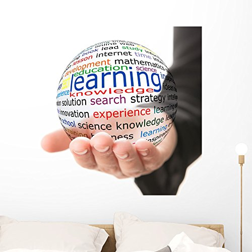 Wallmonkeys Transparent Ball with Inscription Learning in a Hand Wall Decal Peel and Stick Graphic WM4294 (36 in H x 36 in W)