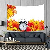 smallbeefly Clock Wall Tapestry Autumnal Leaves and an Alarm Clock Fall Season Theme Romantic Digital Print Home Decorations for Living Room Bedroom 80''x60'' White and Orange