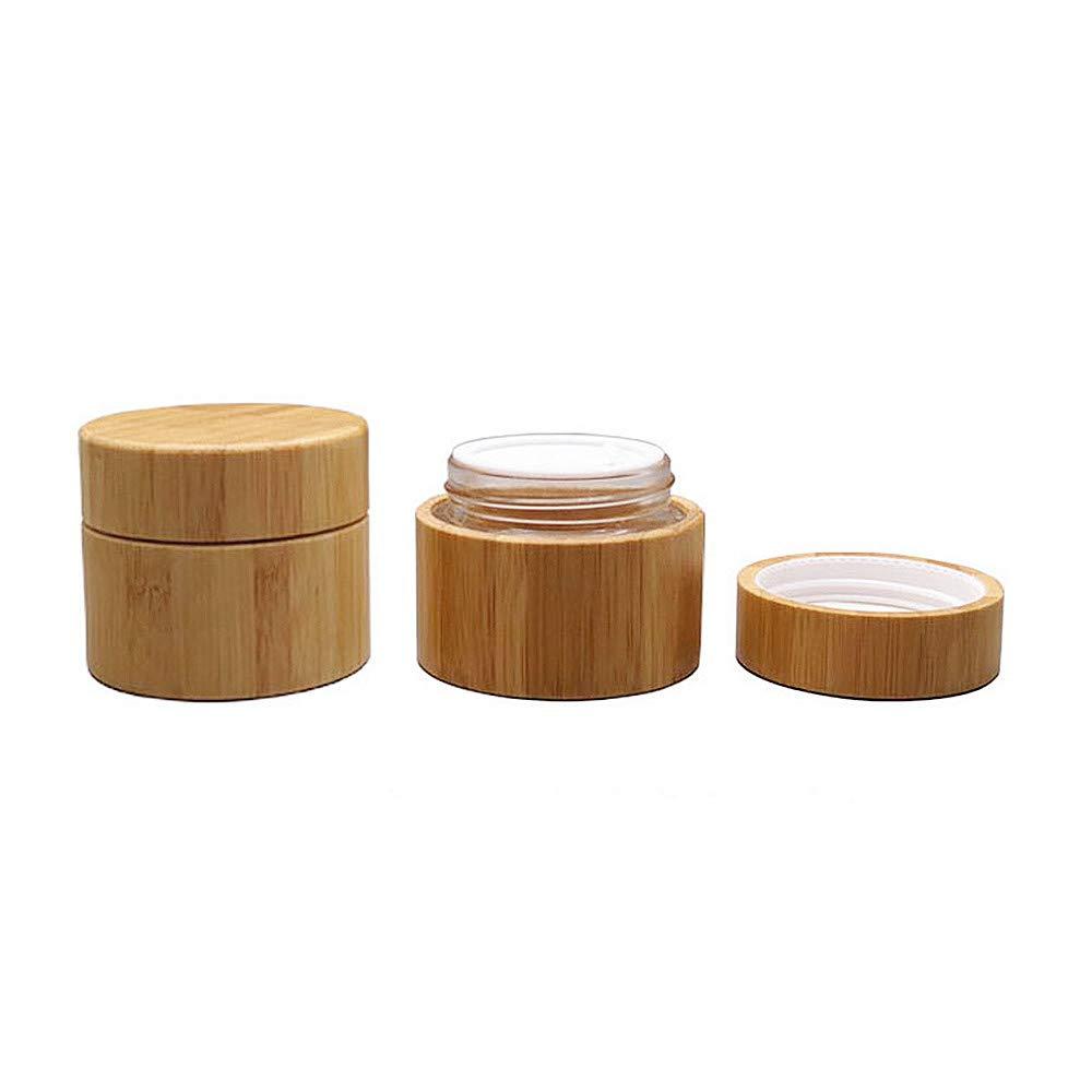 2 tarros de madera para cosm/éticos con interior de cristal para b/álsamo de labios botes de muestras de vidrio rellenables recipientes de maquillaje y viajes