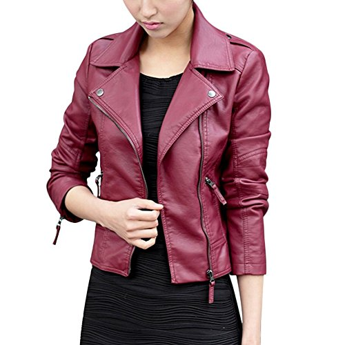 VERYCO Women's Leather Jackets Coats Tops Long Sleeve Lapel Zip Up PU Blazer Outerwear Red