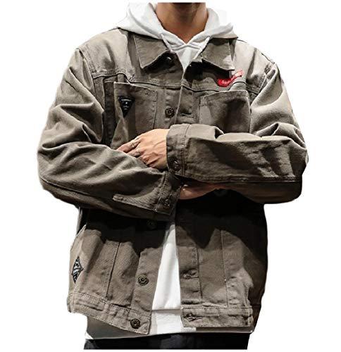 Multicam Down Grey Trucker Button Casual Turn Collar MogogoMen Pockets Jacket Tdqzd1