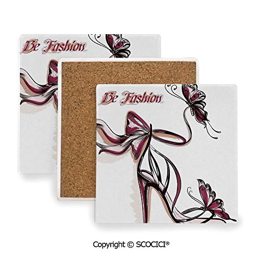 (Ceramic Coaster With Cork Mat on the back side, Tabletop Protection for Any Table Type, Square coaster,Fashion House Decor,High Heels with and Ribbon Ornamentals,3.9