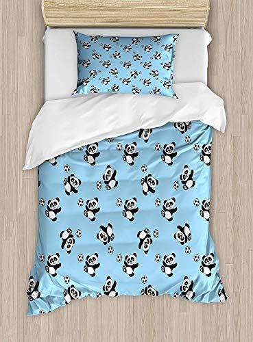 Big buy store Soccer Duvet Cover, Cute Panda Player Kicking a Ball Kids Boys Design Fun Animal Pattern, Decorative 4 Piece Bedding Set with 2 Pillow Sham, Pale Blue Black White(Twin)