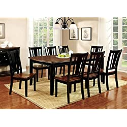 Furniture of America Macchio 9-Piece Transitional Dining Set, Cherry/Black