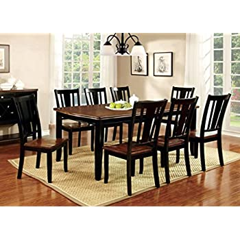 Furniture Of America Macchio 9 Piece Transitional Dining Set, Cherry/Black