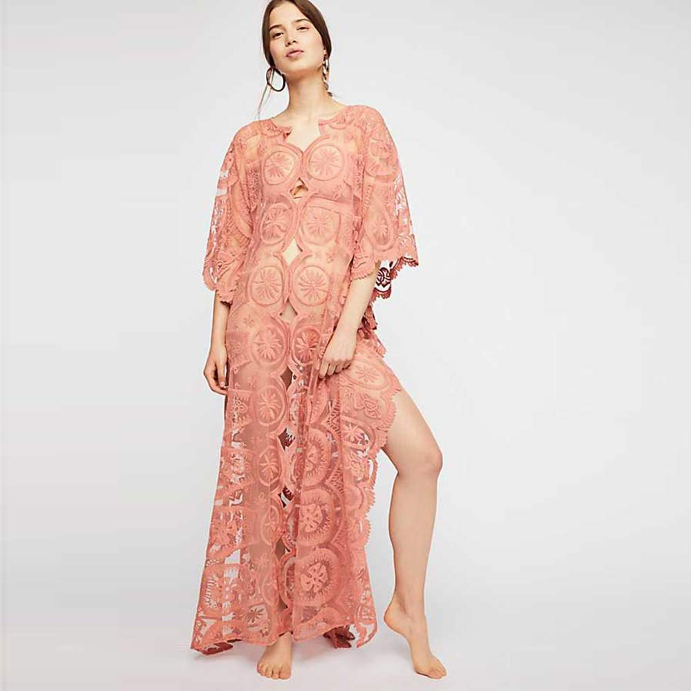 orange HuidiNET Lace Dress with Sleeve VNeck SevenQuarter Leisure Sleeve Hollow Solid color Slim Fit Sexy (color   orange, Size   L)