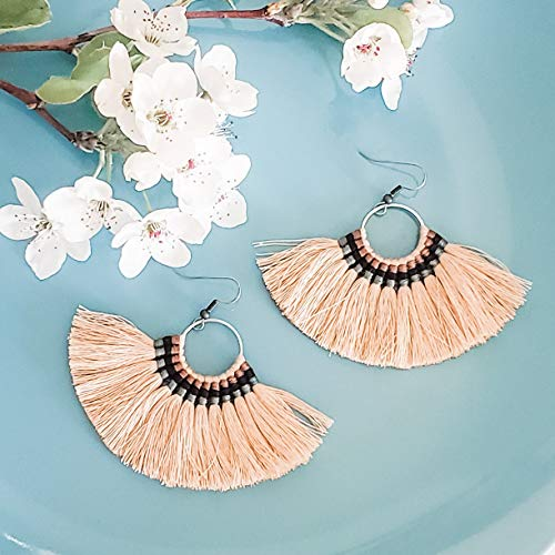 - Large Hoop Fan Tassel Earrings, Taupe Fan Earrings, Tassel Jewelry, Large Fan Earrings, Large Fringe Earrings, Statement Jewelry, Bold Style