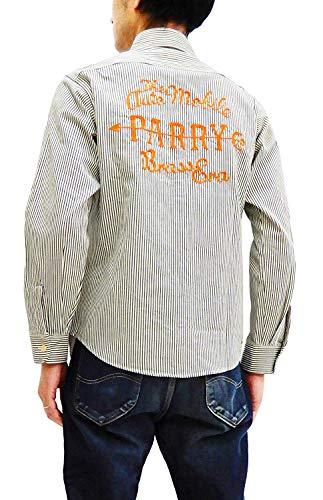 Sugar Cane Men's Embroidered Long Sleeve Hickory Stripe Work Shirt SC27988 Off-White US S (14-14 1/2 / UK 36) ()