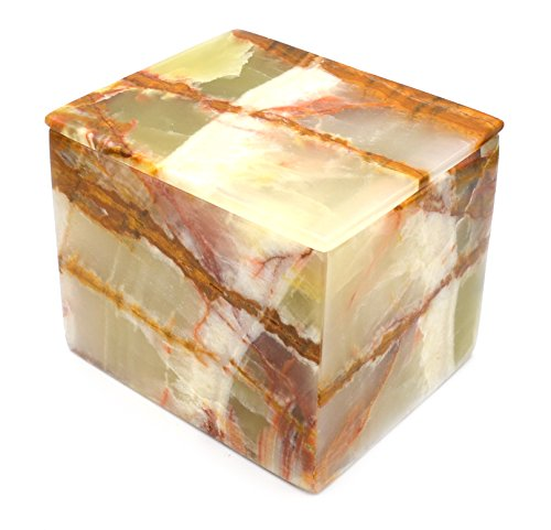 Verdant Green Stone Square Jewelry Box, 5″ long (3.85lbs), Carved from Real North American Onyx Aragonite – The Artisan Mined Series by hBAR Review