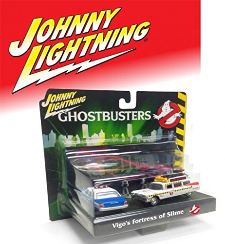 1959 Cadillac Ambulance (Johnny Lightning JLDR001-GH ECTO 1A 1959 Cadillac Ambulance and 1977 Dodge Monaco New York City Police with Figurines from Ghostbusters 1 Movie 1/64 Diecast Model Cars)