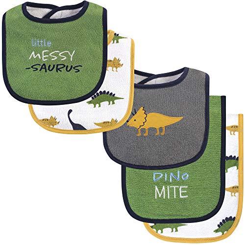 Hudson Baby Baby Bib and Burp Cloth Set, Messysaurus 5 Piece, One Size