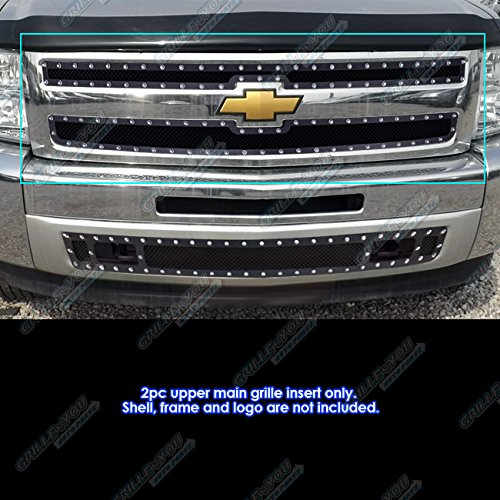 - APS Fits 2007-2013 Chevy Silverado 1500 Stainless Black Rivet Stud Mesh Grille Inserts #CL5766H