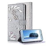 Samsung Galaxy J3 2018 Silver Wallet Case With Screen Protector,Aearl Samsung Galaxy J3