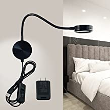 LED Wall Lamp WAYCOM 6W Gooseneck Reading Light - USB Night Lighting Lamp with Switch for Bedroom/Living Room - Yellow/White Color Adjustable (Black)